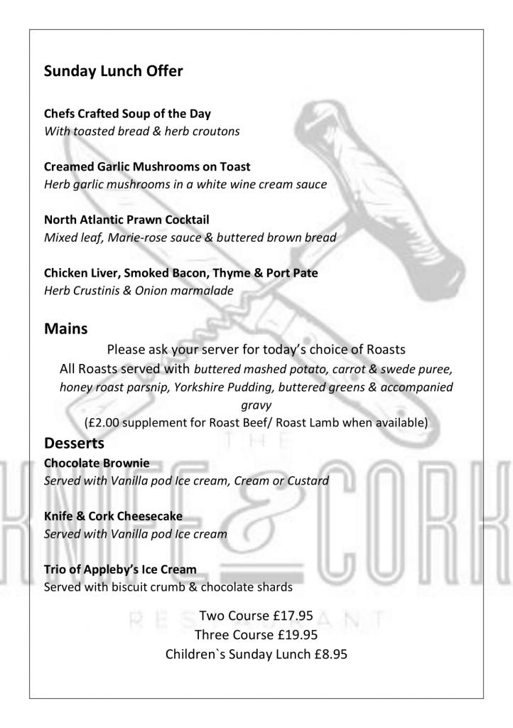Royal Oak Sunday Lunch Menu 2020 Page 1
