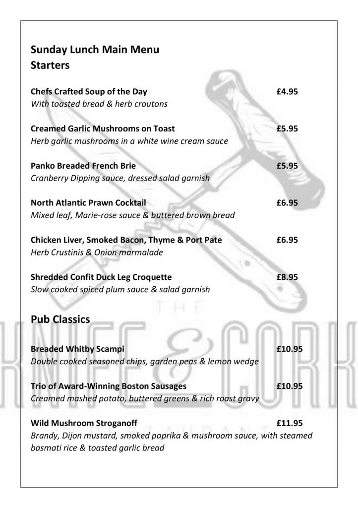 Royal Oak Sunday Lunch Menu 2020 Page 2