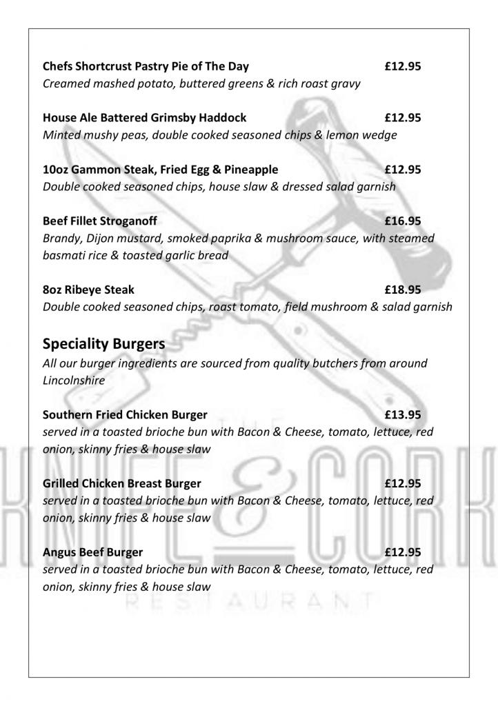 Royal Oak Sunday Lunch Menu 2020 Page 3