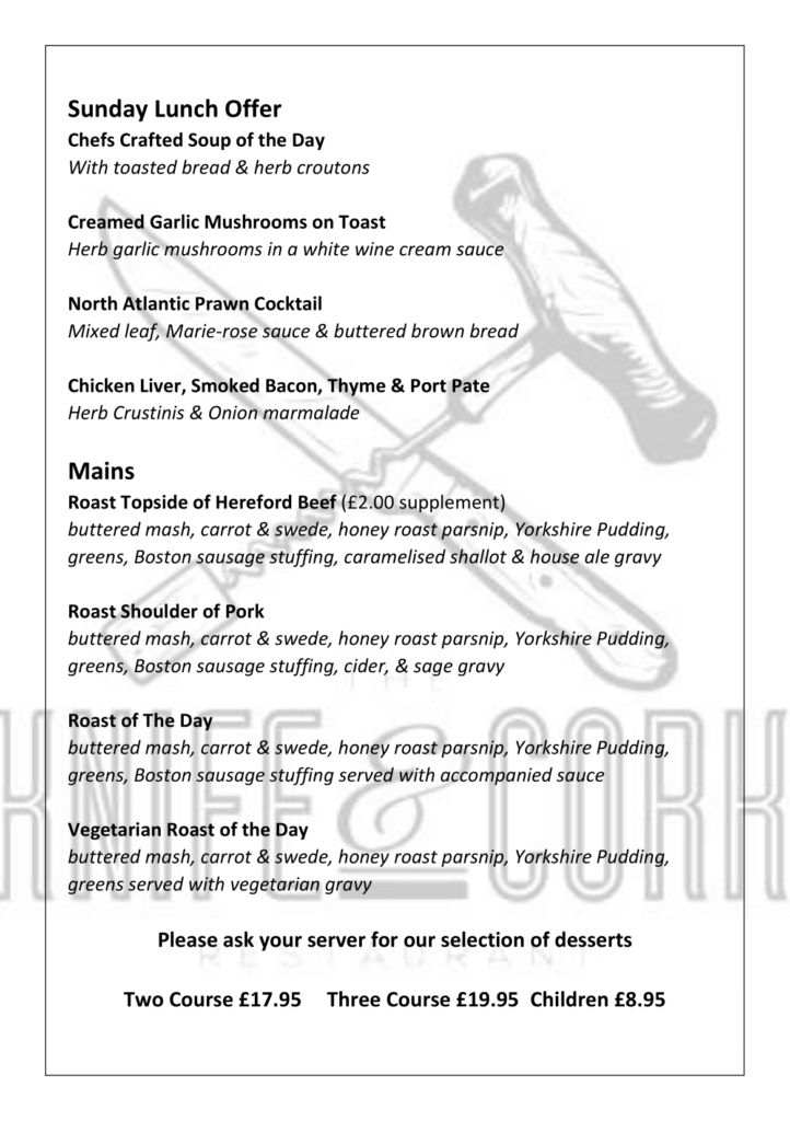 Sunday Lunch Menu - June - P1